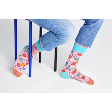 Růžové ponožky Happy Socks s barevnými srdci, vzor Sweet Hearts