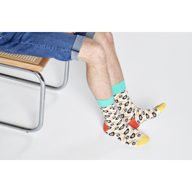 Bílo-tyrkysové ponožky Happy Socks se srdci, vzor Shooting Heart