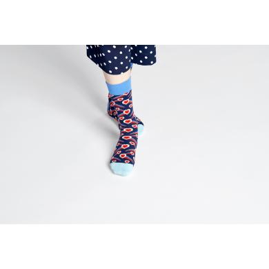 Modro-červené ponožky Happy Socks se srdci, vzor Shooting Heart