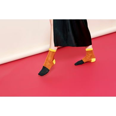 Dámské oranžovo-černé ponožky Happy Socks Liza // kolekce Hysteria