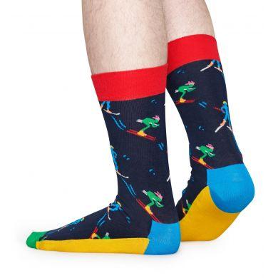 Modré ponožky Happy Socks s lyžaři, vzor Skiers