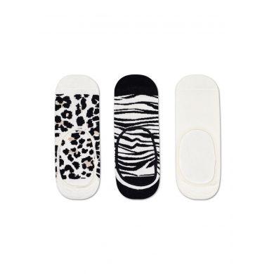 Nízké černobílé ponožky Happy Socks, 3 páry - vzory Leopard a Zebra