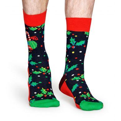 Červeno-zelené ponožky s králíčkem z kolekce Happy Socks x Macaulay Culkin, vzor Holiday Rabbit