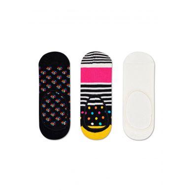 Nízké barevné ponožky Happy Socks, 3 páry - vzory Mini Flower a Stripe and Dot
