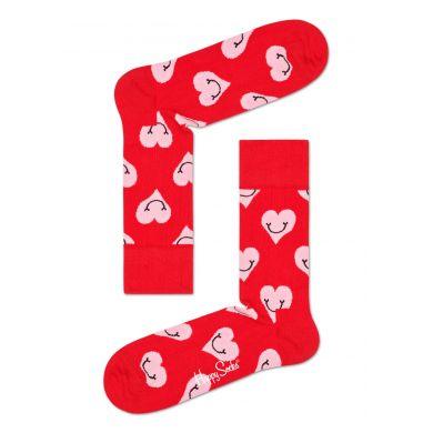 Červené ponožky Happy Socks s růžovými srdíčky, vzor Smiley Heart