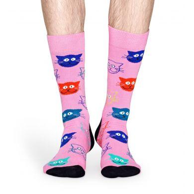 Růžové ponožky Happy Socks s kočkami, vzor Cats