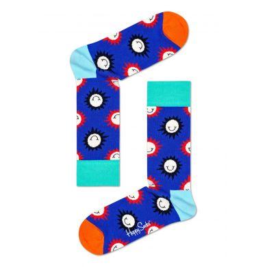 Modré ponožky Happy Socks s usměvavými slunci, vzor Sunny Smile