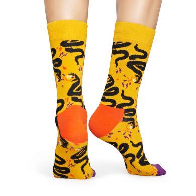 Žluto-černé ponožky Happy Socks s hadem, vzor Snake