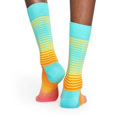 Tyrkysovo-oranžové ponožky Happy Socks, vzor Sunrise