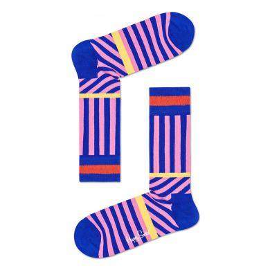 Růžové ponožky Happy Socks s modrými pruhy, vzor Stripes And Stripes