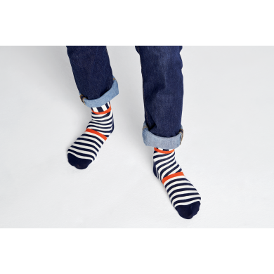 Černo-bílé ponožky Happy Socks s pruhy, vzor Stripes And Stripes
