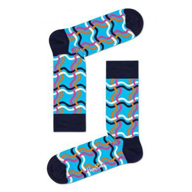Modro-černé ponožky Happy Socks, vzor Squiggly