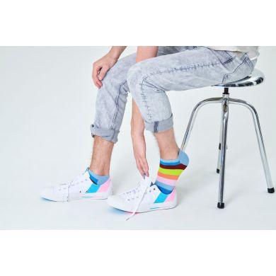 Modré nízké ponožky Happy Socks s pruhy, vzor Stripe