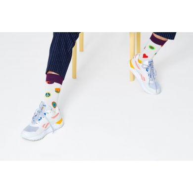 Bílé ponožky Happy Socks s obrázky, vzor Symbol Dot