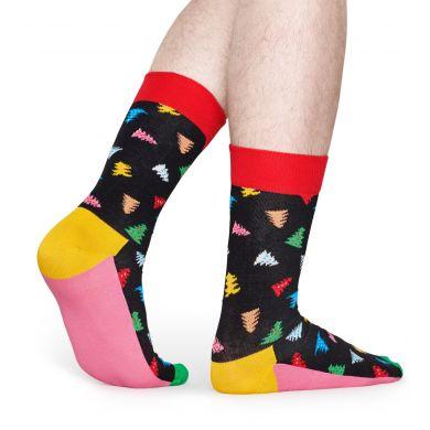 Černé ponožky Happy Socks s vánočními stromečky, vzor Trees And Trees