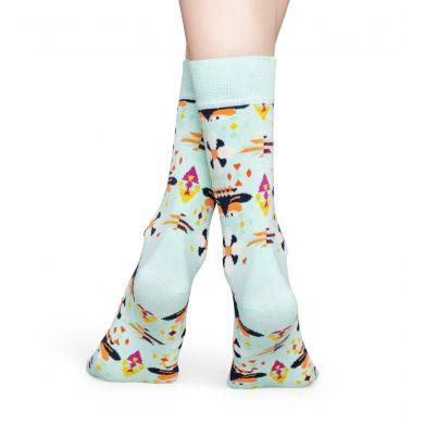Tyrkysové ponožky Happy Socks s květy, vzor Temple Blossom