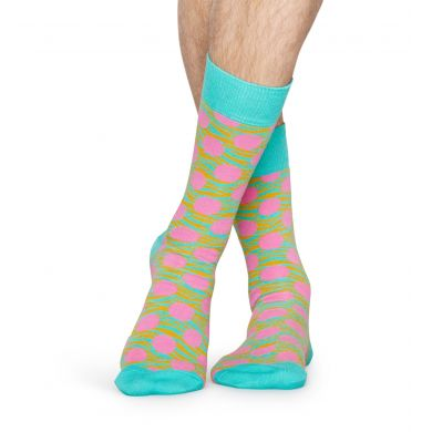 Tyrkysové ponožky Happy Socks s růžovými puntíky, vzor Tiger Dot