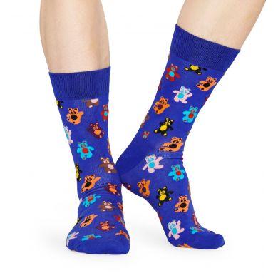 Modré ponožky Happy Socks s medvídky, vzor Teddybear
