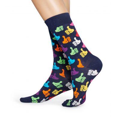 Tmavě modré ponožky Happy Socks s palci, vzor Thumbs Up