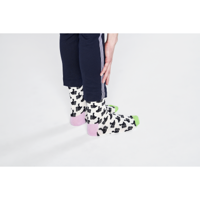 Bílé ponožky Happy Socks s černými palci, vzor Thumbs Up