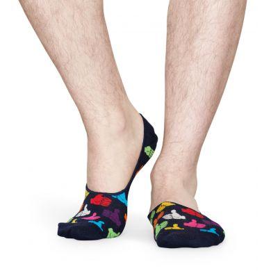 Tmavě modré nízké vykrojené ponožky Happy Socks s palci, vzor Thumbs Up