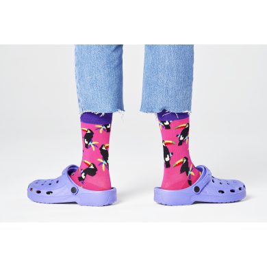 Růžové ponožky Happy Socks s tukanem, vzor Toucan