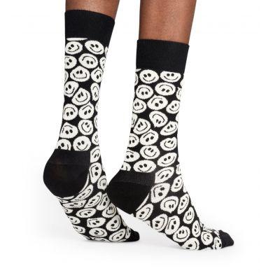 Černobílé ponožky Happy Socks se smajlíky, vzor Twisted Smile