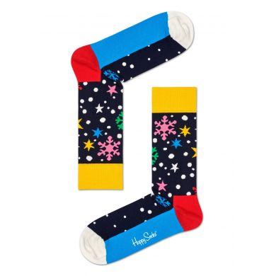 Modré ponožky Happy Socks se sněhovými vločkami a hvězdami, vzor Twinkle Twinkle