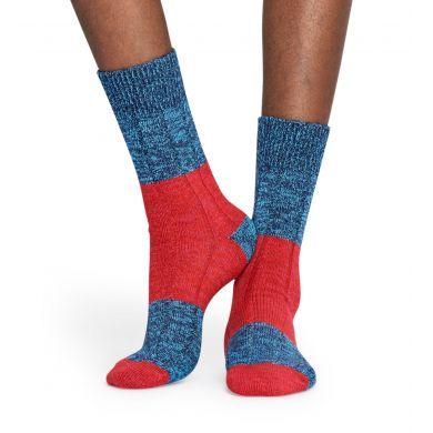 Modro-červené vlněné ponožky Happy Socks, vzor Blocked Rib