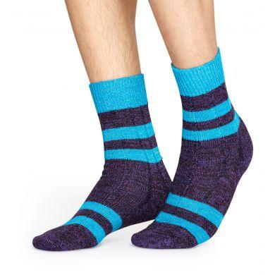 Šedo-modré vlněné ponožky Happy Socks s pruhy, vzor Stripe