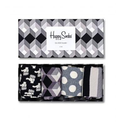 Dárkový box ponožek Happy Socks Black & White - 4 páry