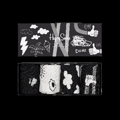 Dárkový box ponožek Happy Socks Black And White - 4 páry