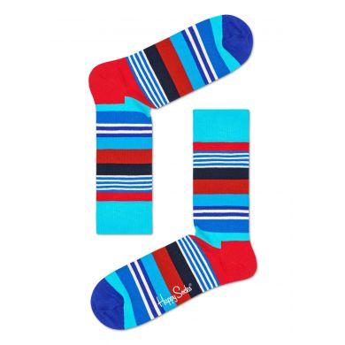 Modré ponožky Happy Socks s barevnými pruhy, vzor Multi Stripe