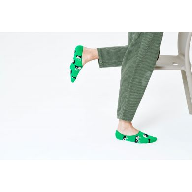 Zelené nízké ponožky Happy Socks s krávou, vzor Yin Yang Cow