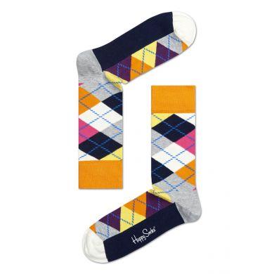 Šedo-barevné ponožky Happy Socks s károvaným vzorem Argyle