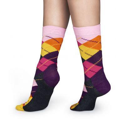Růžovo-žluté ponožky Happy Socks s károvaným vzorem Argyle