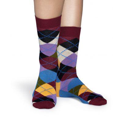 Vínovo-fialové ponožky Happy Socks s károvaným vzorem Argyle