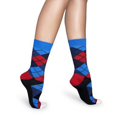 Červeno-modré ponožky Happy Socks s károvaným vzorem Argyle