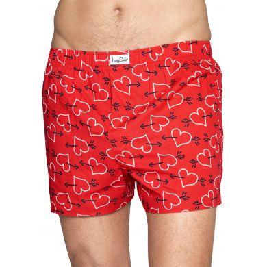 Červené trenýrky Happy Socks se srdci a šípy, vzor Arrows and Hearts