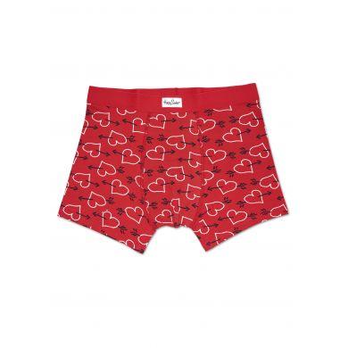 Červené boxerky Happy Socks se srdci a šípy, vzor Arrows and Hearts