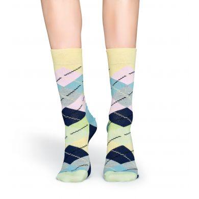 Pastelové ponožky Happy Socks s károvaným vzorem Argyle