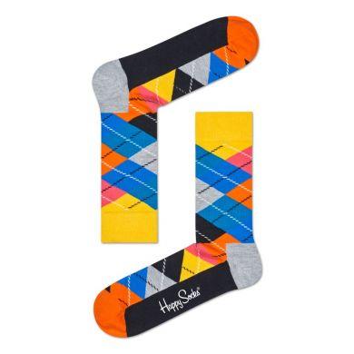 Žluto-šedé ponožky Happy Socks s károvaným vzorem Argyle