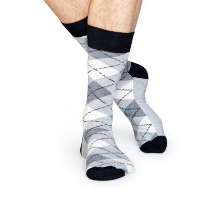Šedé ponožky Happy Socks s károvaným vzorem Argyle