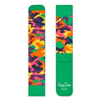 Zelené ponožky Happy Socks s barevným maskáčem, vzor Bark // kolekce Athletic