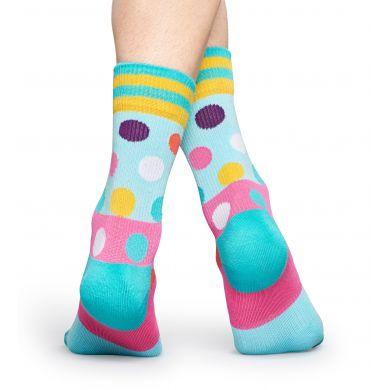 Tyrkysové ponožky Happy Socks s barevnými puntíky, vzor Big Dot // kolekce Athletic