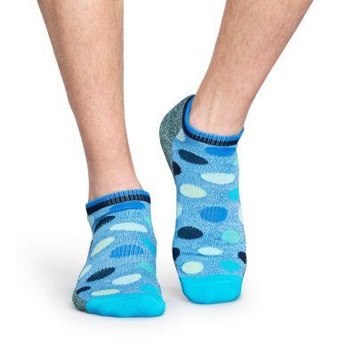 Nízké modré ponožky Happy Socks s puntíky, vzor Big Dot // kolekce Athletic