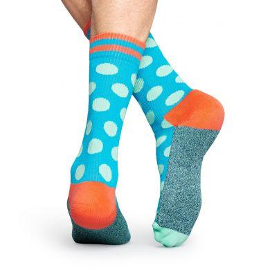 Modré ponožky Happy Socks s tyrkysovými puntíky, vzor Big Dot // kolekce Athletic