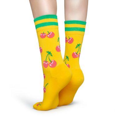 Žluté ponožky Happy Socks s růžovými třešničkami, vzor Cherry  // kolekce Athletic