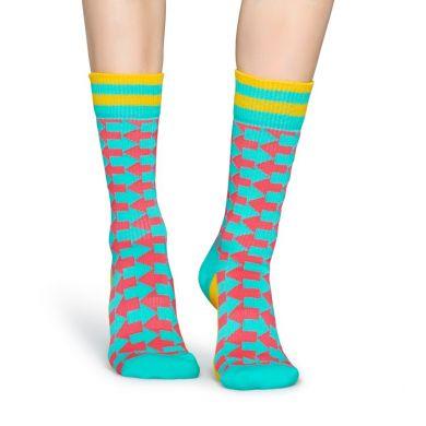 Tyrkysové ponožky Happy Socks s červenými šipkami, vzor Direction  // kolekce Athletic