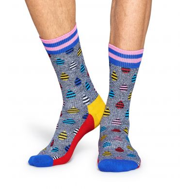 Šedé ponožky Happy Socks s barevnými kapkami, vzor Drops // kolekce Athletic